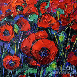 RED POPPIES commissioned palette knife oil painting Mona Edulesco by Mona Edulesco