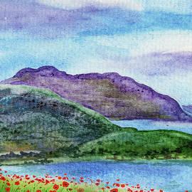 Red Poppy Field Blue Lake And Mountains Watercolor  by Irina Sztukowski