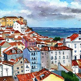 Red Rooftops of Lisbon Alfama by Dora Hathazi Mendes