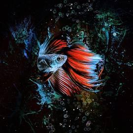 Red Rose Fin Betta Fish Aquatic Vertical Portrait  by Scott Wallace Digital Designs