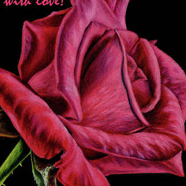 Red Rose On Black- For You With Love by Sarah Batalka