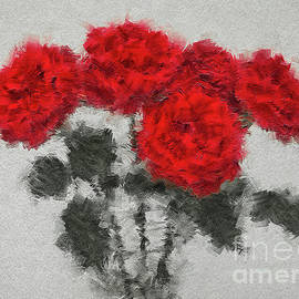 RED ROSES vivid painted over digitally  by Tatiana Bogracheva