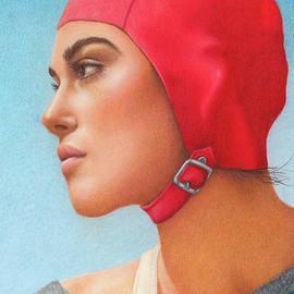 Red Swim Cap by Valerie Evans