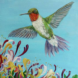 Red Throated Humming bird with Honey Suckle by Ruth Ann Ventrello