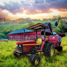 Red Tractor at the Farm in Wildflowers II by Debra and Dave Vanderlaan