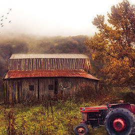Red Tractor in the Mountain Mists Painting by Debra and Dave Vanderlaan