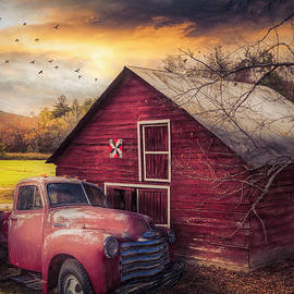 Red Truck and Red Barn under Sunset Skies Painting by Debra and Dave Vanderlaan