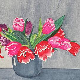 Red Tulips In Gray Vase Still Life by Deborah League
