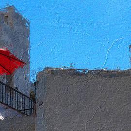 Red umbrella under blue sky, digital oil by Murray Rudd