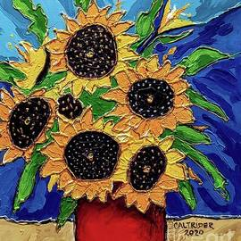 Red Vase of Sunflowers by Alison Caltrider