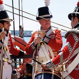 Redcoats on a Sailing Vessell by Terry Groben