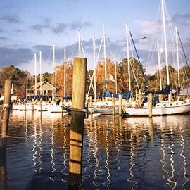 Sailboat Reflections on Cherry Point Marina in North Carolina  by Catherine Ludwig Donleycott