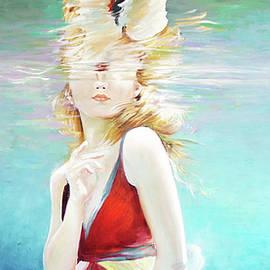 Reflexion.Underwater girl painted by Vali Irina Ciobanu by Vali Irina Ciobanu