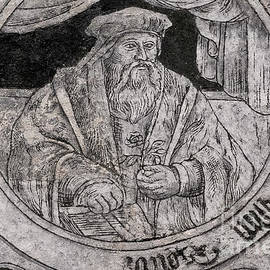Renaissance scholar depicted on front of 16th century house in sgraffito, Czechia or Czech Republic by Terence Kerr
