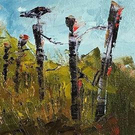 Resting Crow on Fence by Patricia Caldwell
