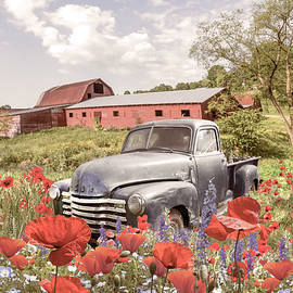 Resting in Farmhouse Poppies by Debra and Dave Vanderlaan