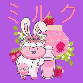 Retro Japanese Strawberry Milk Kawaii Easter Cow Bunny Spring Floral by Cosmin Albu