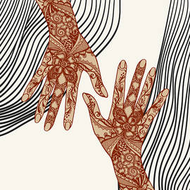 Retro vintage aesthetic female hands covered with traditional indian mehendi henna tattoo ornaments. by Mounir Khalfouf