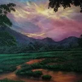Rising sun after rains  by Maria Abeyesekere