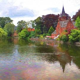 River scenic in Bruges Belgium in van Gogh Style by David Smith