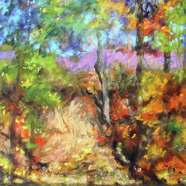 River Tapestry 1 - Roanoke River in autumn diptych by Bonnie Mason