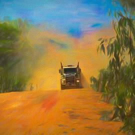 Road Train to Pormpuraaw Cape York Queensland Australia by Joan Stratton