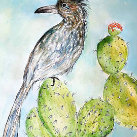 Roadrunner's Cactus Perch by Barbara Chichester