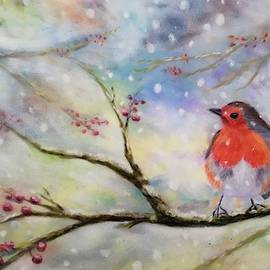 Robin Pastel on Velour  by Karen Harding