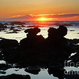 Rock Formations at Low Tide at Sunset Portugal