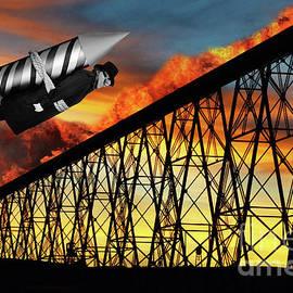 Rocket Man Ignites The High Level Bridge In Lethbridge by Bob Christopher