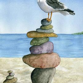 Rockin It - Seagull on Beach by Linda Apple