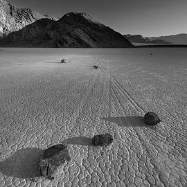 Rocks on the Racetrack Death Valley BW