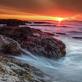 Rocks, Seaweed, Waves, and Sunrise by Dave Cleaveland