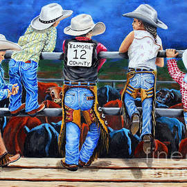 Rodeo Kids On Fence by Pechez Sepehri