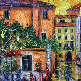 ROMANCE IN VENICE Detail palette knife commissioned oil painting Mona Edulesco by Mona Edulesco