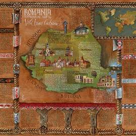 Romania touristical map painting on leather by Vali Irina Ciobanu by Vali Irina Ciobanu