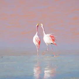 Romantic painting flamingo artwork by Helen Filatova