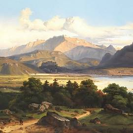 Romanticism Landscape Scene After The Original Painting By George Crola L A S by Gert J Rheeders