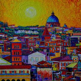 ROME SKYLINE FROM ORANGE GARDEN abstract cityscape sunset palette knife painting Ana Maria Edulescu by Ana Maria Edulescu