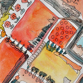 Rooftop Gardens - Abstract watercolor painting by Patty Donoghue