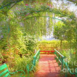 Rose Arbors at Monet's Waterlily Pond, Giverny, France, Painterl by Liesl Walsh