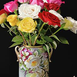 Rose Bouquet and Vase on Black by Regina Geoghan