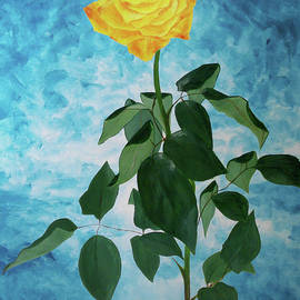 Single Yellow Rose Painting, with Leaves on Blue Background by Aneta Soukalova