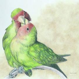 Rosy-Faced Lovebirds by Miriam Wilson