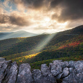 Rough Ridge North Carolina Blue Ridge Parkway Autumn Light Rays Scenic Mountains Landscape by Dave Allen