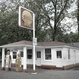 Route 66 Gas Station, Desaturated Color Version  by Michael Chiabaudo