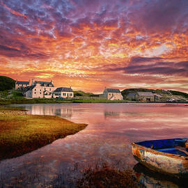 Rowboat in the Marshland at Sunset by Debra and Dave Vanderlaan