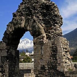 Rubble core of Roman theatre wall at Aosta, northern Italy  by Terence Kerr