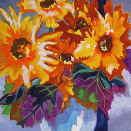 Rubeckia Bouquet in Blue Vase  by Kathy Braud
