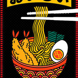 Rubino Samurai Eats Noodles Happy 2 by Tony Rubino